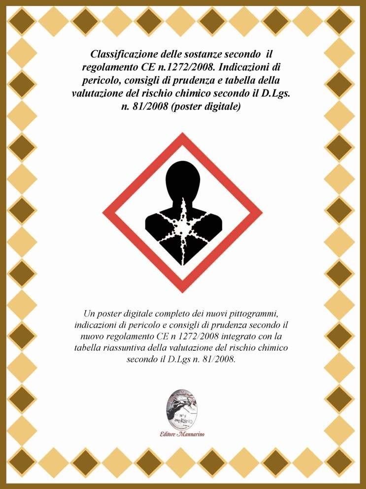 Classificazione delle sostanze secondo  il regolamento CE n.1272/2008. Indicazioni di pericolo, consigli di prudenza e tabella della valutazione del rischio chimico secondo il D.Lgs. n. 81/2008 (poster digitale)